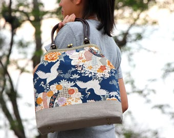 Kiss lock bag Japanese cotton fabric cranes and floral / Handbag / Shoulder bag / Metal frame bag