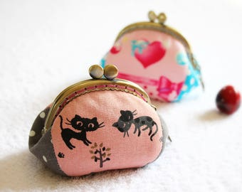Coin purse, Kiss lock coin purse, Cat coin purse