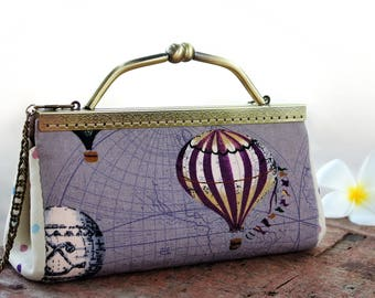 Kiss lock clutch / Handbag / shoulder bag Hot air balloons