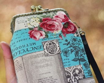 Wristlet phone case two compartment, Eyeglasses case, iPhone 6 plus, Galaxy note