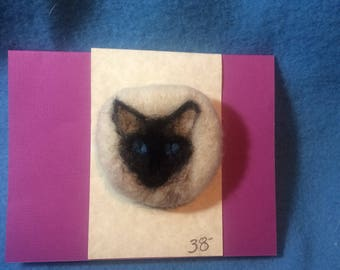 Needle felted wool Siamese portrait pin