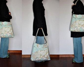 Large world map etsy world map print large diaper bag tote bag messenger bag shoulder bag everyday purse gumiabroncs Images