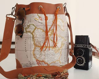 World Map Bucket Bag . Leather Bag (Beige )