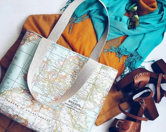 World Map Print Large Tote Bag/ Ecofriendly Diaper / Shoulder Bag/Everyday Purse