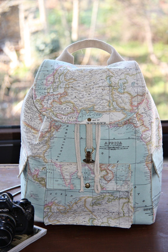 World Map Prints Backpack/Atlas Large | Etsy