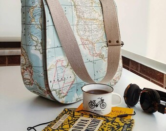 World Map Prints Messenger Bag , Cross Body Bag , Large Messenger