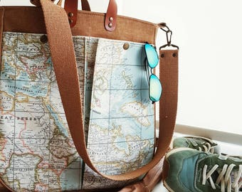 World Map Prints Shoulder Bag , Large Tote , Hand Bag