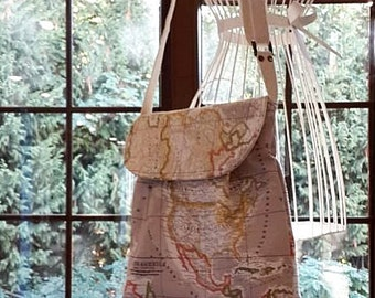 World Map Print Small  Diaper Bag