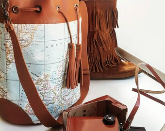 World Map Bucket Bag