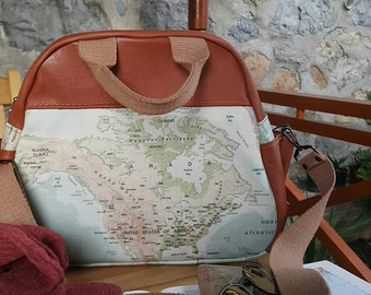 World map tote bag , leather bag , hand bag ,  shoulder bag , duffle bag