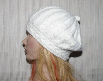Off White Pure Italian Cashmere Cable Knit women Beret Hat  Size:Small