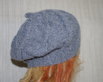 Gray 8 Ply Cashmere Cable Hand knit Warm Soft Beret 0cfb9e83424