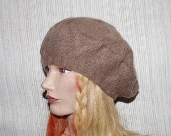 d040135b Pure Cashmere Camel Brown Cable Hand Knit Women Hat Beret Knit Size Small