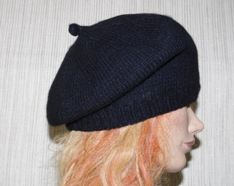 c8437ed9ff53f Black 8 Ply Italian Cashmere Hand Knit Beret