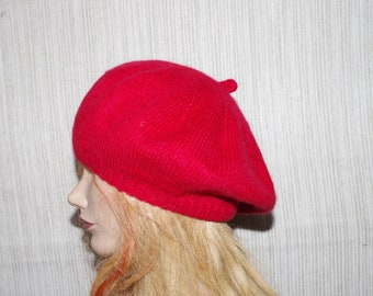 9ac5e4a2b51bc 8 Ply Italian Cashmere Red Hand Knit Women Beret Hat Size Small