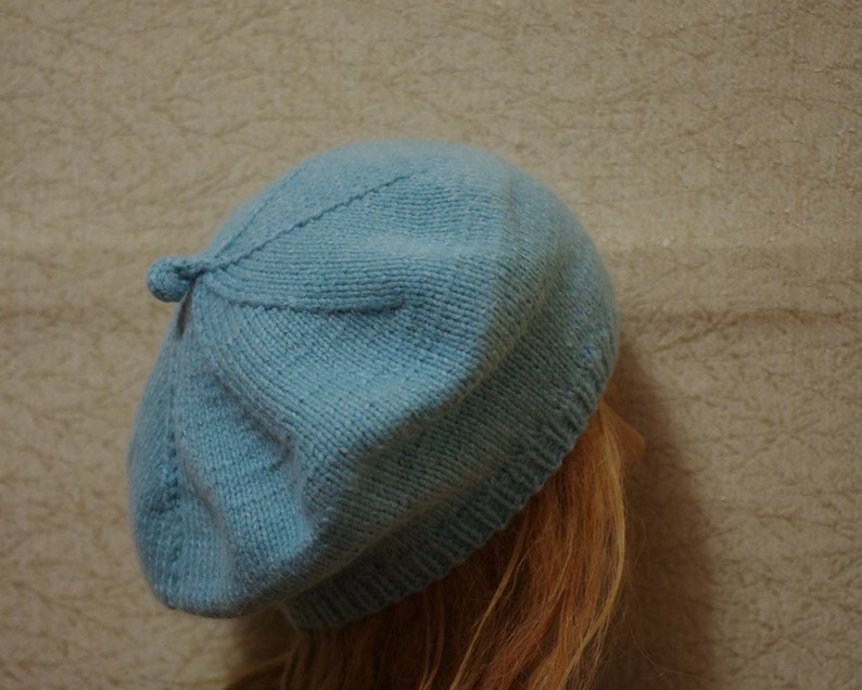 Heather Blue 8 Ply Cashmere Hand Knit Thick Beret