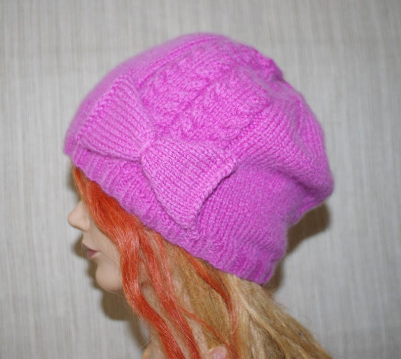 Pure 8 Ply Cashmere Pink Cable Hand Knit Hat with Bow