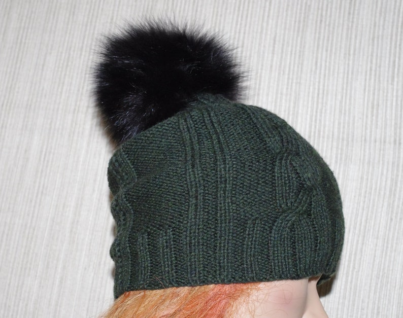 6b2301e34ae Dark Green Italian Merino Wool Thick Cable Hand Knit Beanie Hat With Black  Real Fur Pom-Pom
