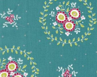 Fabric - Flower Swirls on Teal