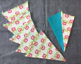 Sweet Fields & Turquoise Bunting Flags - 6 Flags