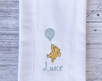 Pooh Bear Cloth Diaper Burp Cloth gender neutral baby shower gift girl personalized boy