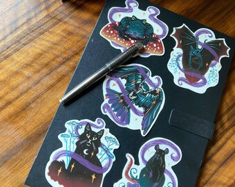 Witches familiars 10cm vinyl sticker set- witchcraft and wizardry, toad, black cat, witchy gifts, cute stationary, occult, magic, laptop