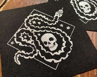 Adder nest- silver screen print fabric patch 8x8cm- goth, snake lover gift, punk, skull, occult, patches for jackets, sow on, viper, witch
