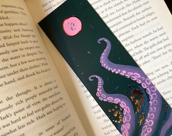 Kraken Copper Foiled 55x173mm Bookmark- perfect gift for book lovers! Gothic, horror, tentacle, alchemy, Octopus, Scuba, Cthulhu, Lovecraft
