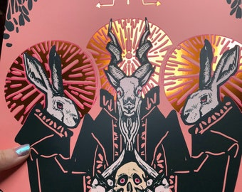 Rose Gold Foiled 'Bloodletting'  Goat and hares A3 art print - Deluxe occult decor, gifts for goths, horror art, Memento Mori, Rabbits