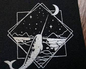 Narwhal - silver screen print fabric patch 8x8cm- goth, narwhal lover gift, punk, patches for jackets, sow on, unicorn of the sea, whale