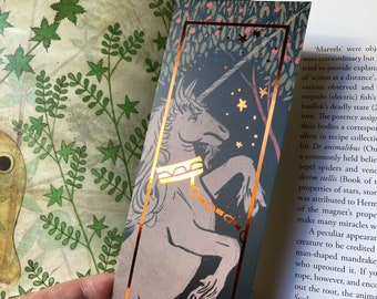 Unicorn copper Foiled 55x173mm Bookmark- perfect gift for book lovers! Gothic, medieval style, alchemy, Tapestry, unicorns, illuminated