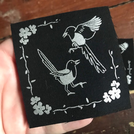 bird lover patches for jackets plague Two for joy- silver screen print fabric patch 8x8cm- goth crows sow on magpie lover gift punk