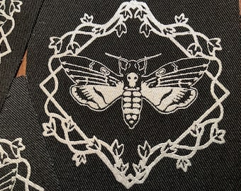 Deaths Head Hawkmoth- silver screen print fabric patch 8x8cm- goth, moth lover gift, punk, skull, occult, patches for jackets, sow on