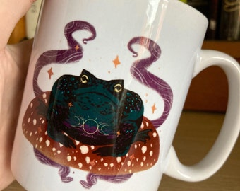Witches familiar toad mug- ceramic, 10oz/285 ml, gothic homeware, witchy gift ideas, toads and frog lovers, mushroom, magic, witchcraft,