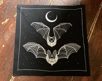 Midnight bats 20cm silver screen print back patch - goth, punk, skull, occult, patches for jackets, bat lover gift, sow on, vampire, creepy
