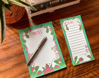 Carnivorous plants notepad and to do list set- easy tear off pages, botanical stationary, desk pad, gift set , daily planner,cute stationary