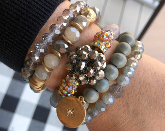 Stretch Bracelets, Pearl Fabulous Stack Bead Bracelet Stack, Bracelets in Rare Bird Set of FIVE Bracelets for 2021 - NORTH STAR Collection