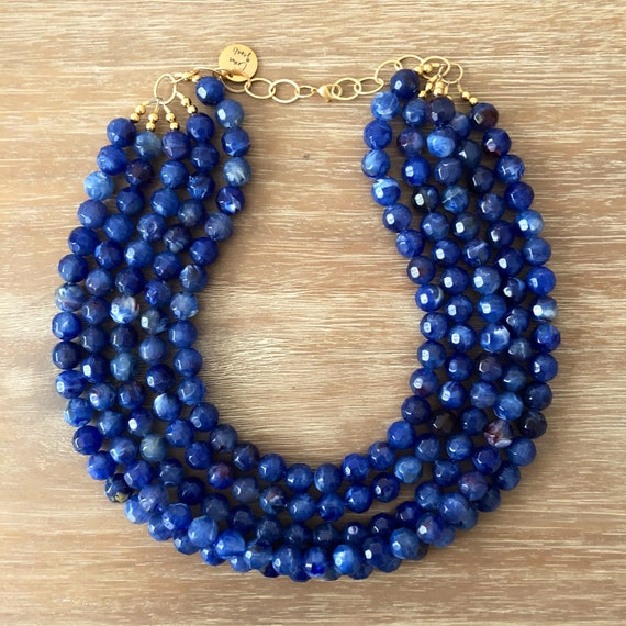 blue beaded necklace bridesmaid necklace blue beaded necklace Single Strand Royal Blue Big Beaded Statement Necklace blue Jewelry set