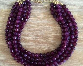 Purple Bead Necklace - Chunky Beaded Statement Necklace MultiStrand in Purple