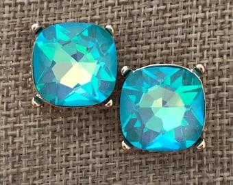 Crystal Earring - Crystal Stud Earring Vintage Inspired Statement Earring - Caribbean Blue