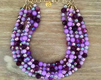 Purple Bead Necklace - Chunky Beaded Statement Necklace MultiStrand Purple