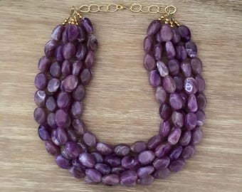 Purple Bead Necklace – Chunky Beaded Necklace Handmade in Purple Beads, Spring 2018 Fashion