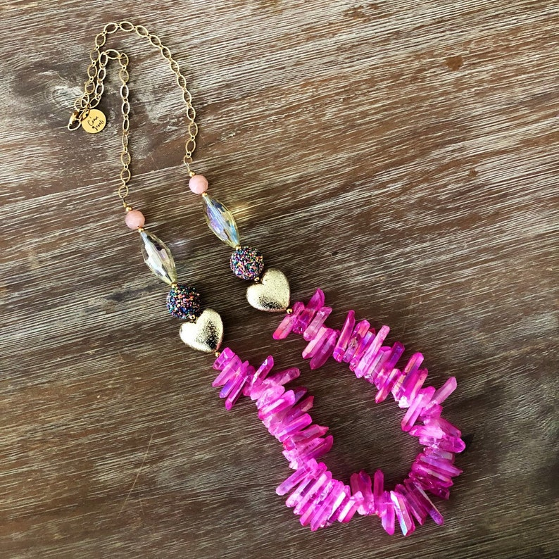 Confetti Heart Necklace One of a kind Gorgeous Rare Vintage Finds Necklace Beads Bridesmaid Jewelry The Boston Collection Long Necklace