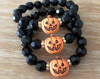 Stretch Bead Bracelet – Large Bead Bracelet Sparkling Halloween Collection Beaded Bracelet Our Top Selling Bracelet