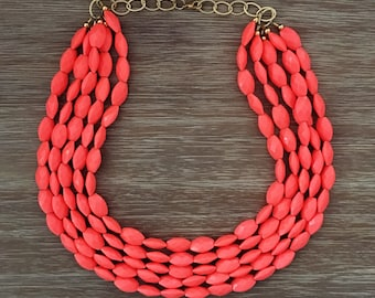 Orange Bead Necklace - Chunky Beaded Statement Necklace Multistrand in Orange