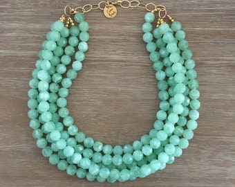 Green Bead Necklace - Chunky Beaded Statement Necklace MultiStrand in Green