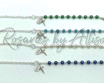 Swarovski Rosary Bracelet Silver Gold Miraculous Mary St Michael St Patrick Pearl Cream Green Blue Pink Purple