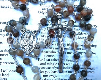 Agate gemstone rosary with silver plated St Kateri Tekakwitha center and Papal crucifix