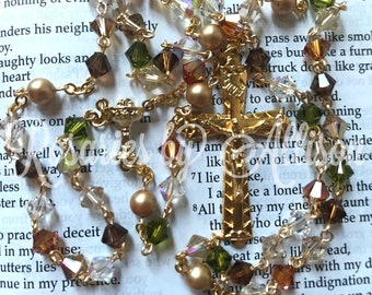 Brown & Green 'Mississippi' Swarovski Crystal Bicone and Gold Swarovski Pearl Rosary with Gold Plated Chalice Center and crucifix