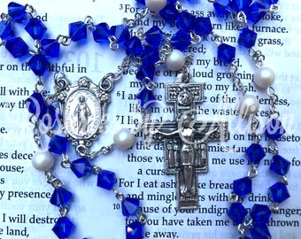 Majestic Blue Swarovski bicone and Iridescent White Swarovski pearl rosary with silver plated Miraculous center & San Damiano crucifix
